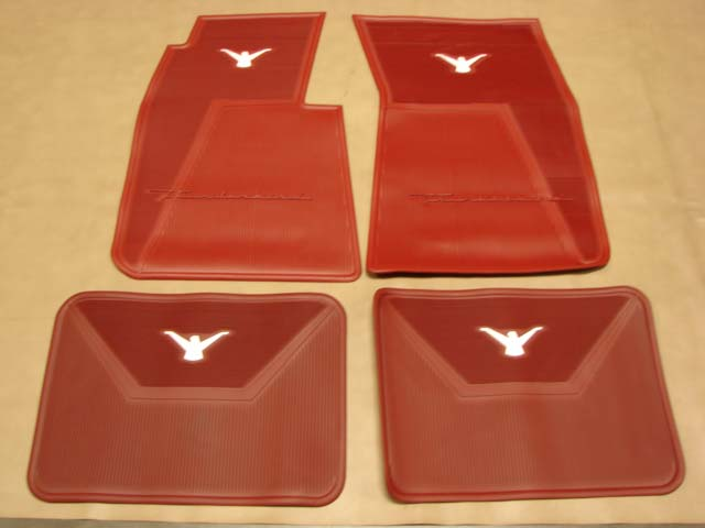 B 13106C Floor Mats Red with White Bird For 1958-1959-1960 Ford Thunderbird (B13106C)