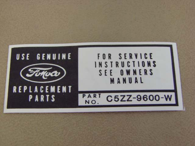 Mdf 760 Decal Air Cleaner 65 Service Instructions For 1965 Ford