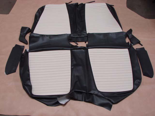 tsc bkl seat cover black white leather   ford thunderbird tscbkl larrys