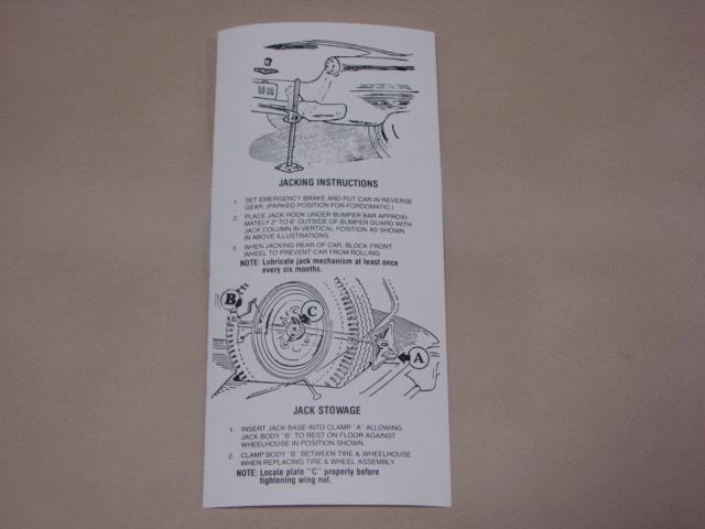 PDF 50 Jacking Instructions For 1954-1955-1956 Ford Passenger Cars (PDF50)