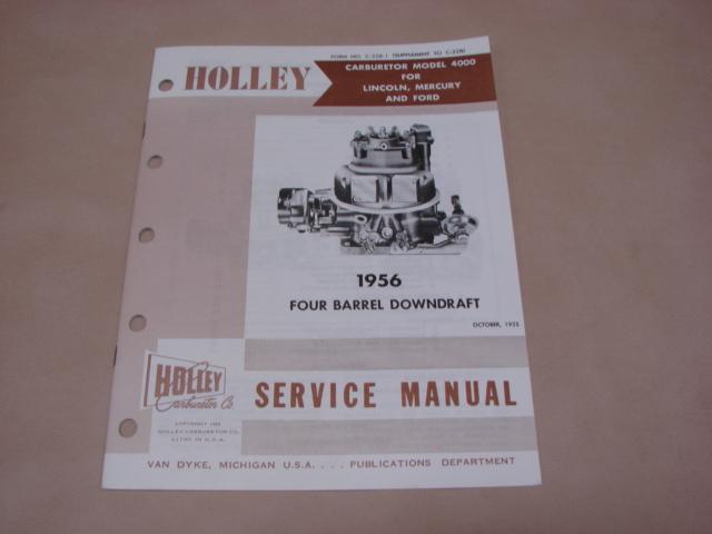 PLT CM56 Holley 4BBL Carburetor Supplemental Manual For 1955-1956 Ford Passenger Cars (PLTCM56)